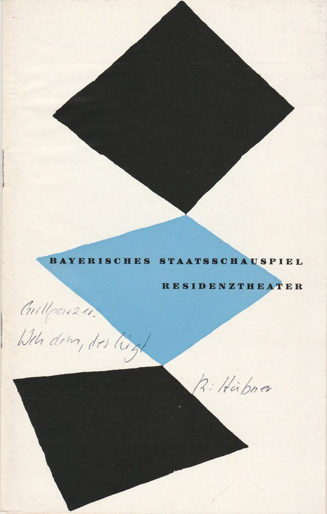 Programmheft Franz Grillparzer WEH DEM DER LÜGT! Residenztheater 1958