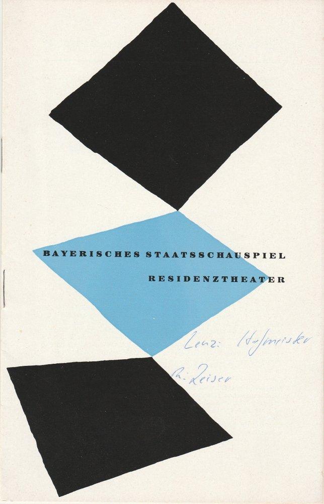 Programmheft J. M. Reinhold Lenz DER HOFMEISTER Residenztheater 1957