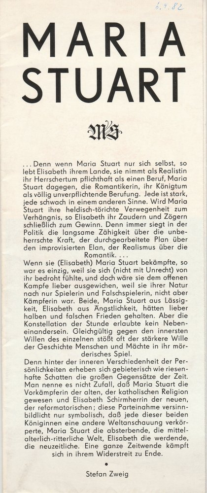Programmheft Friedrich Schiller MARIA STUART Staatstheater Dresden 1980