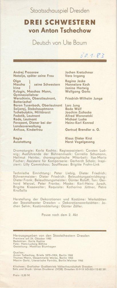 Programmheft Anton Tschechow DREI SCHWESTERN Staatstheater Dresden 1982