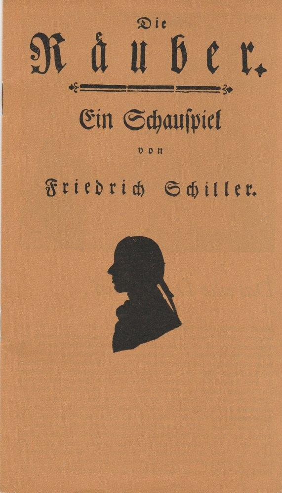 Programmheft Friedrich Schiller Die Räuber Landesbühnen Sachsen 1978