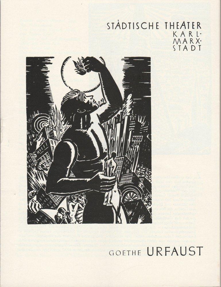Programmheft Johann Wolfgang von Goethe URFAUST Theater Karl-Marx-Stadt 1961