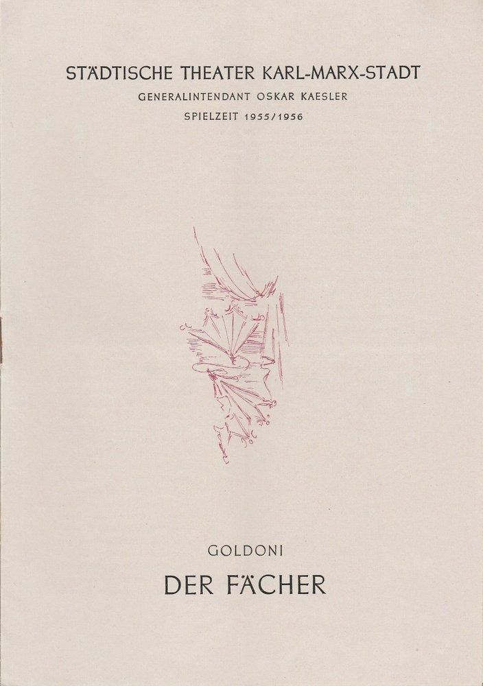 Programmheft Carlo Goldoni DER FÄCHER Städtische Theater Karl-Marx-Stadt 1956