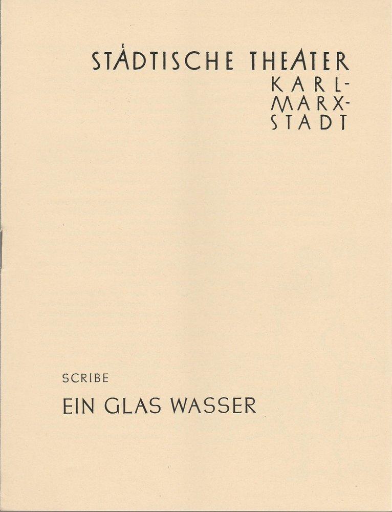 Programmheft Eugene Scribe EIN GLAS WASSER  Theater Karl-Marx-Stadt 1959