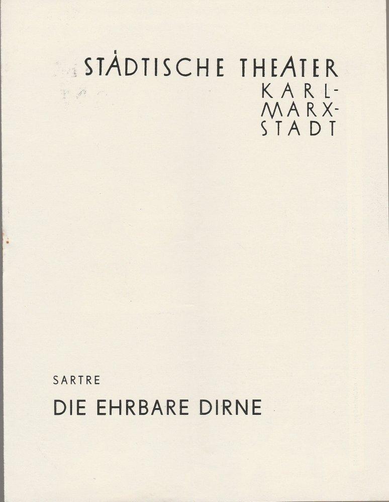 Programmheft Jean Paul Sartre DIE EHRBARE DIRNE Theater Karl-Marx-Stadt 1959