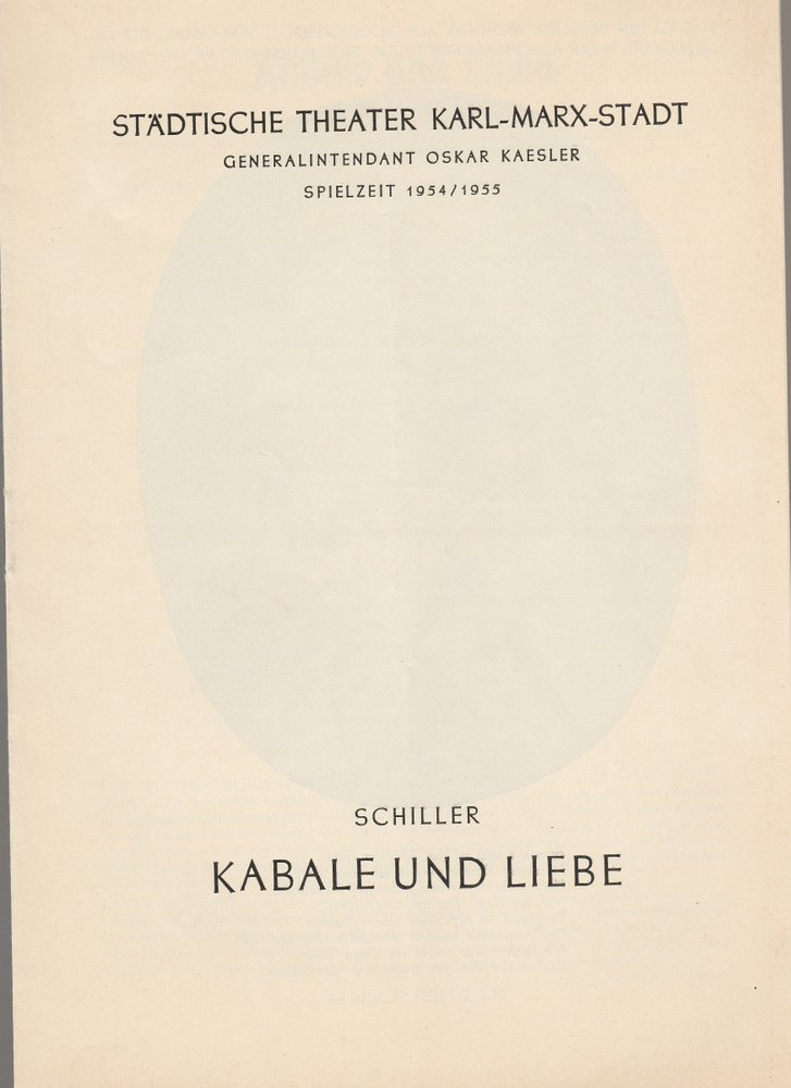 Programmheft Friedrich Schiller KABALE UND LIEBE  Theater Karl-Marx-Stadt 1954