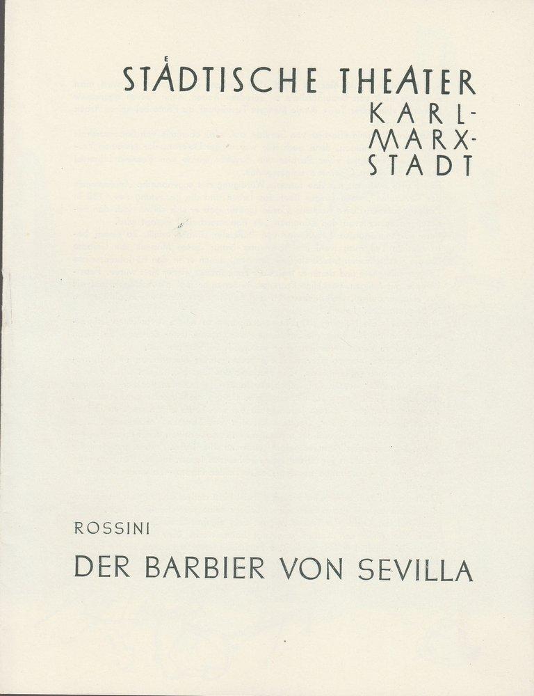 Programmheft G. Rossini DER BARBIER VON SEVILLA  Theater Karl-Marx-Stadt 1960