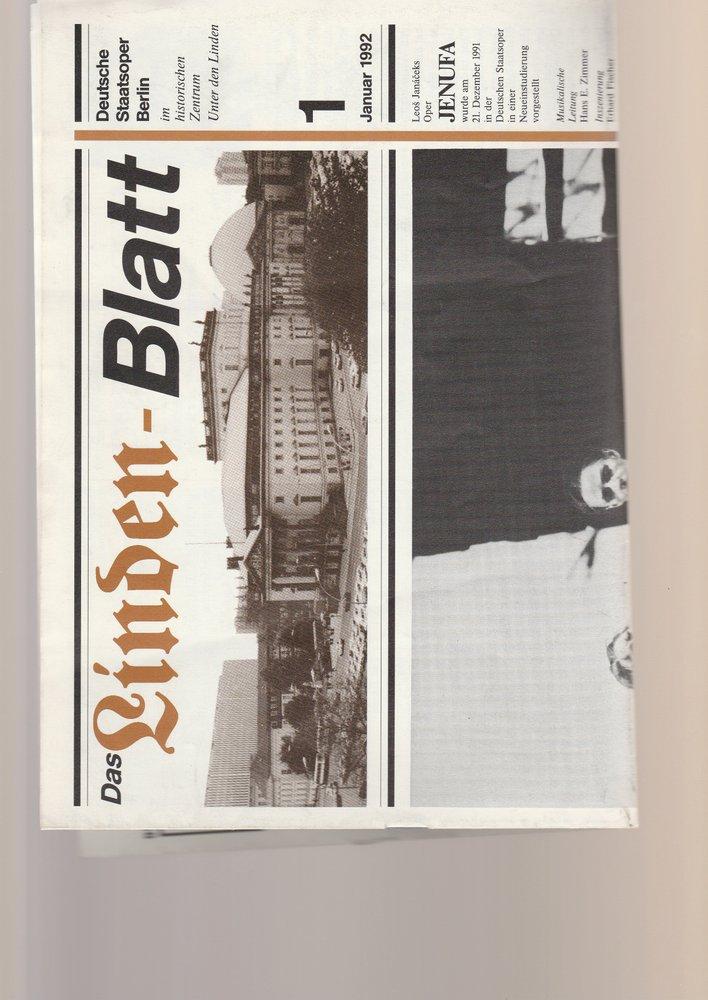 Deutsche Staatsoper Berlin DAS LINDEN-BLATT 1 Januar 1992