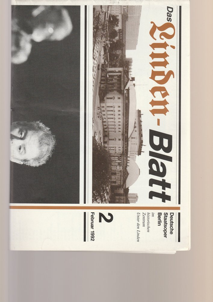 Deutsche Staatsoper Berlin DAS LINDEN-BLATT 2 Februar 1992