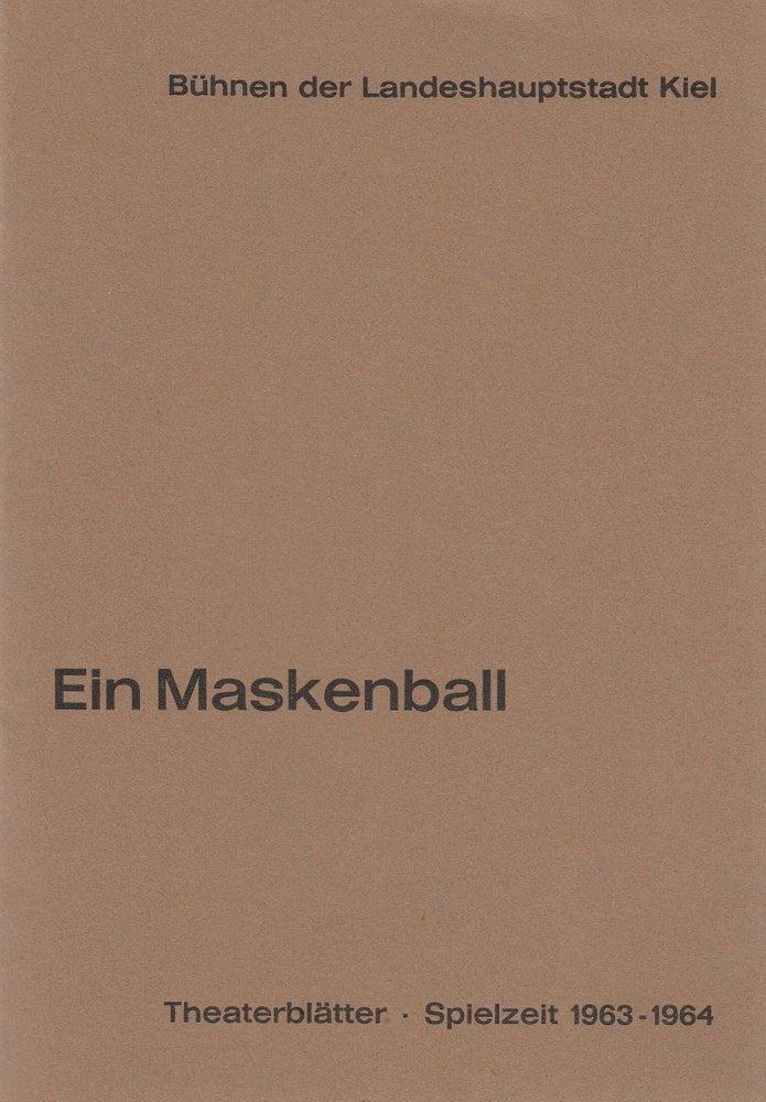 Programmheft Giuseppe Verdi EIN MASKENBALL Stadttheater Kiel 1963