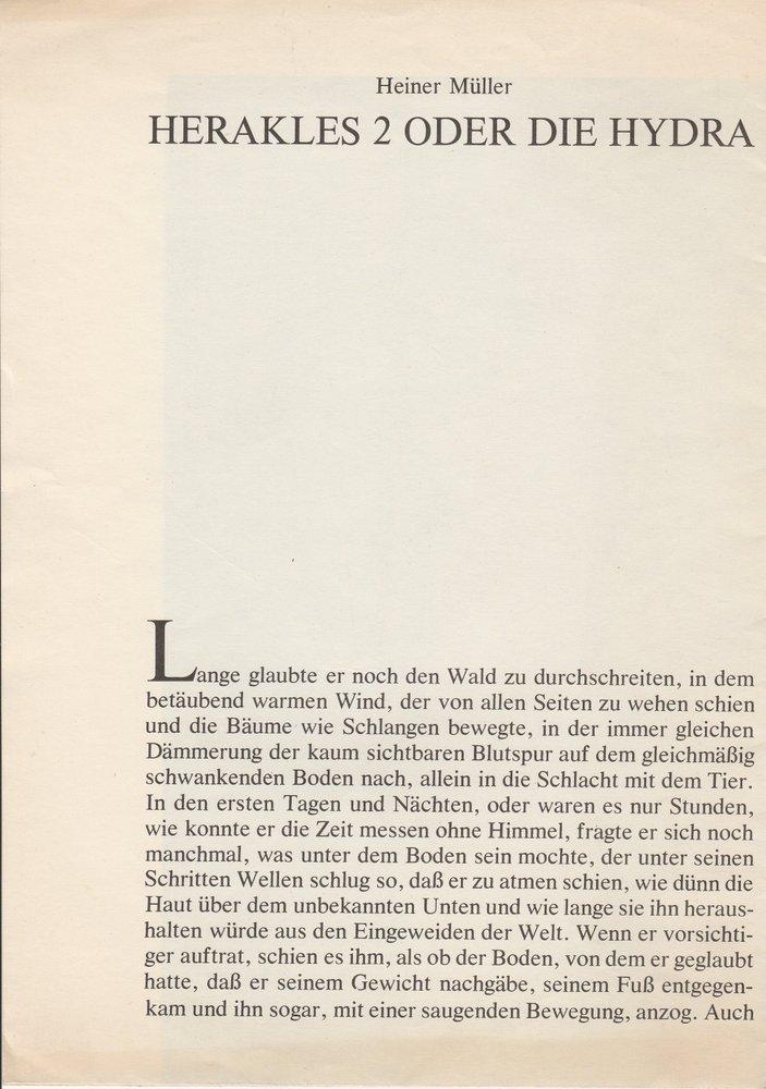 Heiner Müller HERAKLES 2 ODER DIE HYDRA Berliner Ensemble 1973