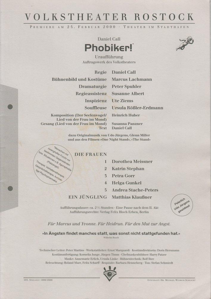 Programmheft Uraufführung Daniel Call PHOBIKER! Volkstheater Rostock 2000
