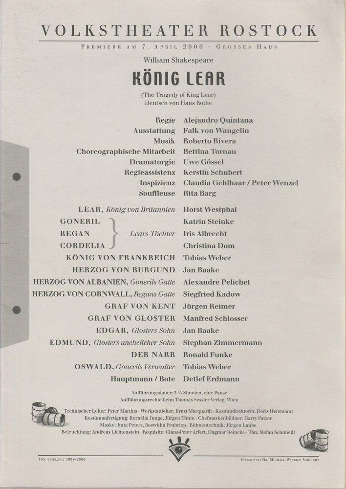 Programmheft William Shakespeare KÖNIG LEAR Volkstheater Rostock 2000