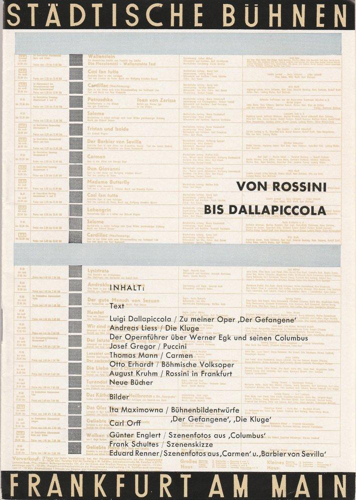 Programmheft VON ROSSINI BIS DALLAPICCOLA Bühnen Frankfurt 1957