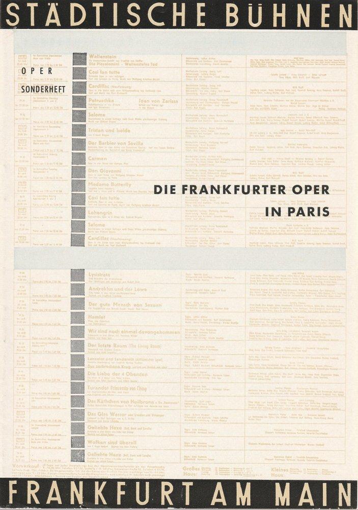 Programmheft DIE FRANKFURTER OPER IN PARIS SONDERHEFT Bühnen Frankfurt 1959