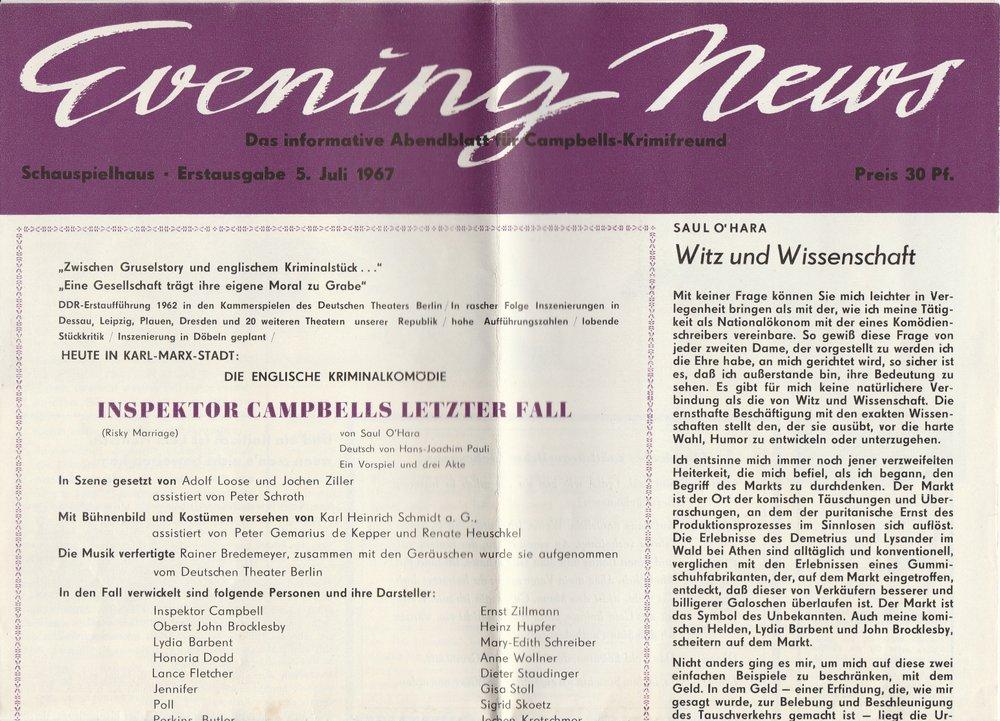 Programmheft S. O'Hara INSPEKTOR CAMPBELLS LETZTER FALL Th. Karl-Marx-Stadt 1967