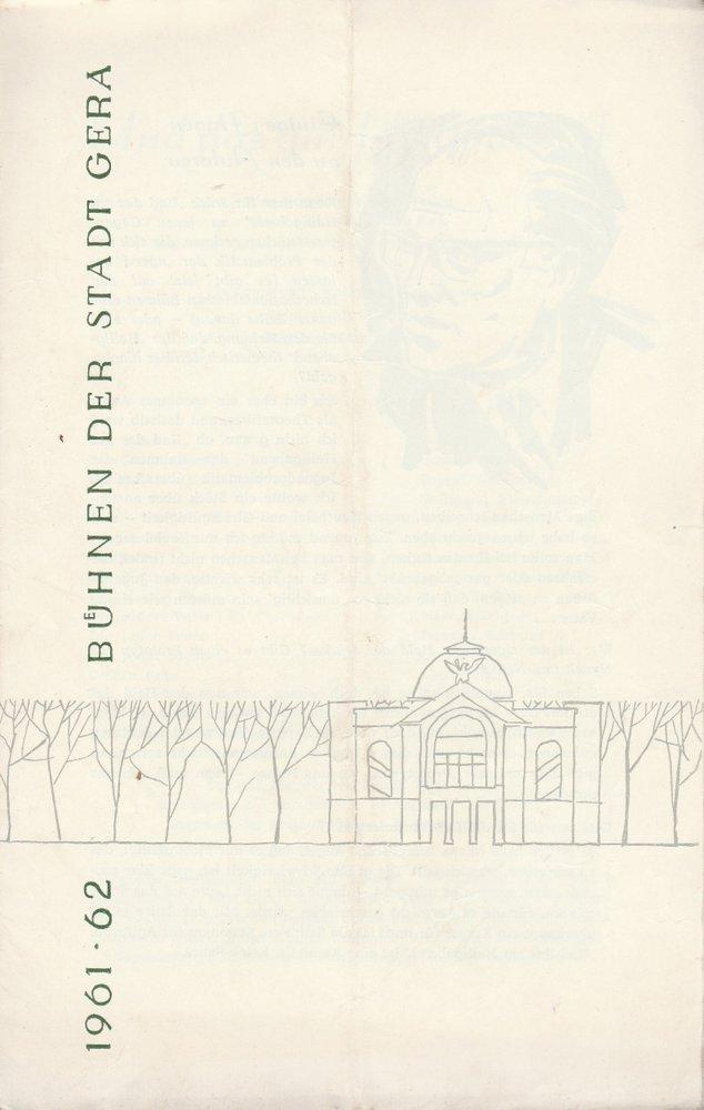 Programmheft Vratislav Blazek UND DAS AM HEILIGABEND Bühnen Gera 1961