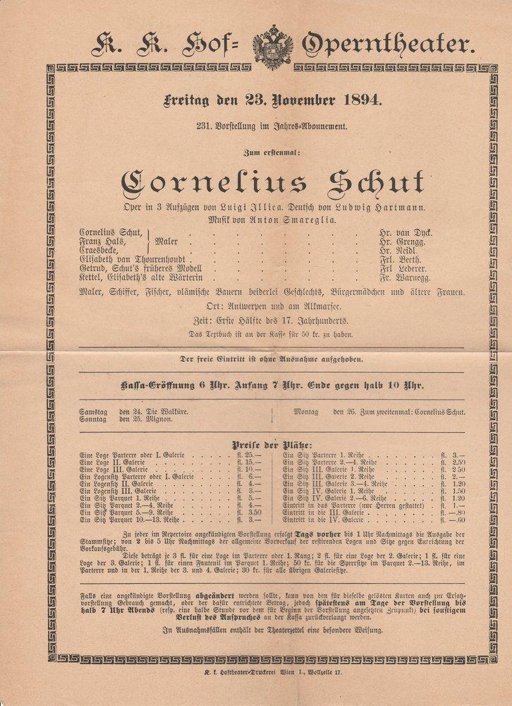 Theaterzettel CORNELIUS SCHUT K. K. Hof = Operntheater 1894