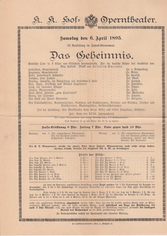 Theaterzettel Friedrich Smetana DAS GEHEIMNIS K. K. Hof = Operntheater 1895