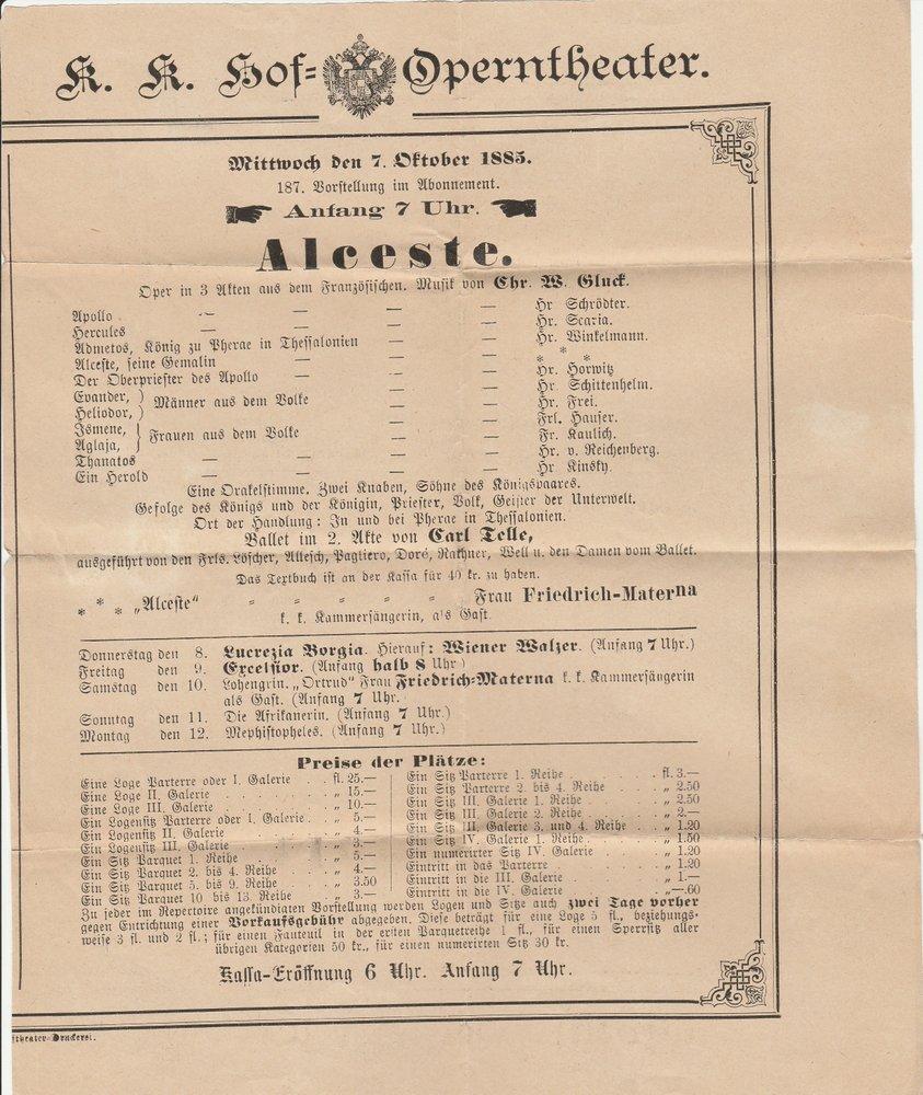 Theaterzettel Christoph Willibald Gluck ALCESTE K. K. Hof = Operntheater 1885
