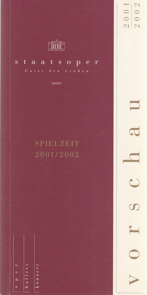 Staatsoper Unter den Linden VORSCHAU 2001 / 2002