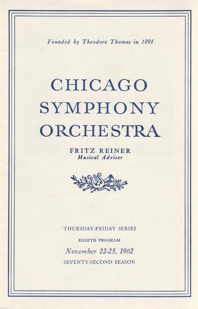 Programmheft Chicago Symphony Orchestra EIGHTH PROGRAMM 1962