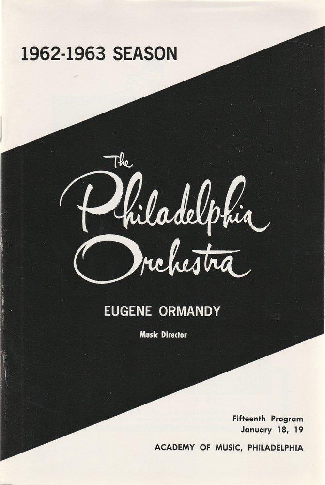 The Philadelphia Orchestra Fifteenth Programm January 1963